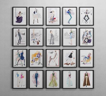 人物挂画, 现代装饰画, 挂画, 照片墙, 现代