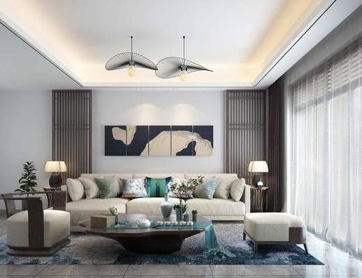新中式客餐厅, 客厅, 餐厅, 厨房, 沙发茶几组合, 沙发组合, 橱柜组合, 餐桌椅组合