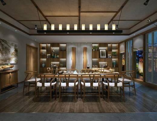 新中式茶馆, 新中式茶室, 吊灯, 桌子, 椅子, 桌椅组合, 茶馆, 边柜, 挂画, 置物架, 摆件