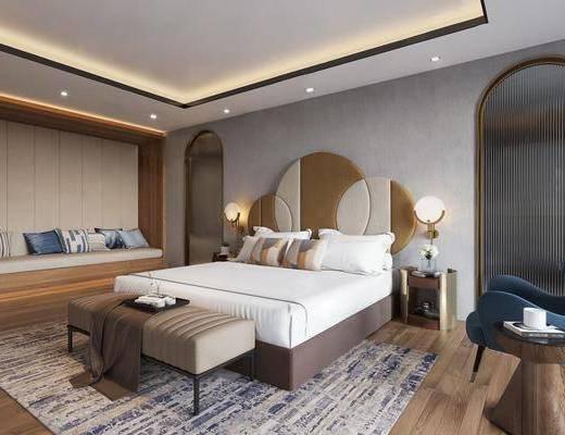 客房套房, 床具组合, 单人边几组合, 台灯组合, 新中式