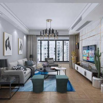 现代客厅, 现代, 客厅, 沙发组合, 茶几, 现代壁灯, 现代吊灯