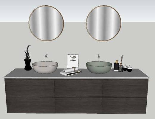 洗手盆, 壁镜, 水龙头, 浴柜