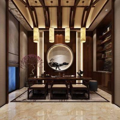 茶室, 茶桌, 单人椅, 凳子, 花卉, 盆栽, 墙饰, 摆件, 吊灯, 新中式