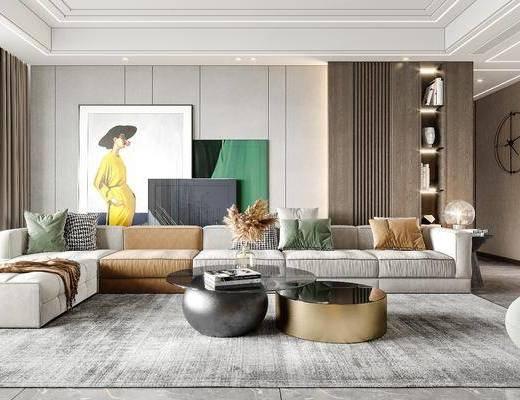 现代轻奢客厅, 沙发, 茶几, 装饰画
