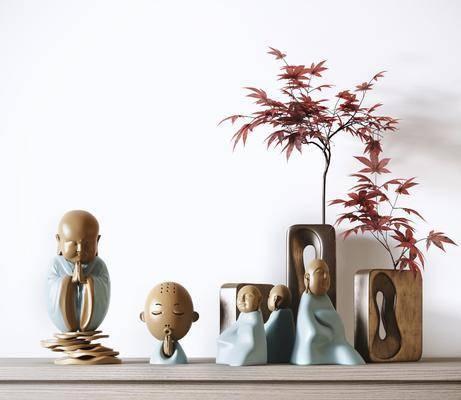 新中式, 摆件, 装饰, 3d模型, 单体