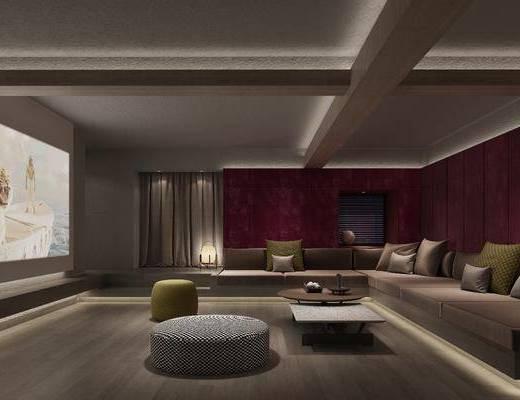 影音室, 多人沙发, 转角沙发, 茶几, 沙发茶几, 脚踏沙发, 落地灯, 现代