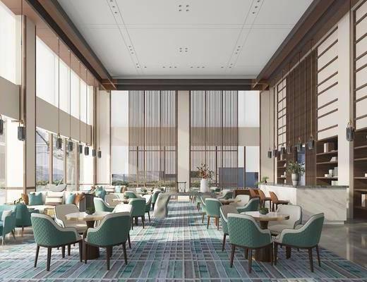 洽谈区, 售楼处, 桌椅组合, 现代吊灯, 接待区, 吧台