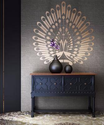边柜, 装饰柜, 后现代, 古典, 摆件, 花瓶, 花卉, 后现代古典边柜