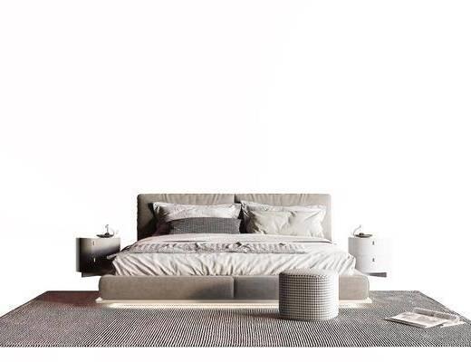现代, 布艺床, 组合