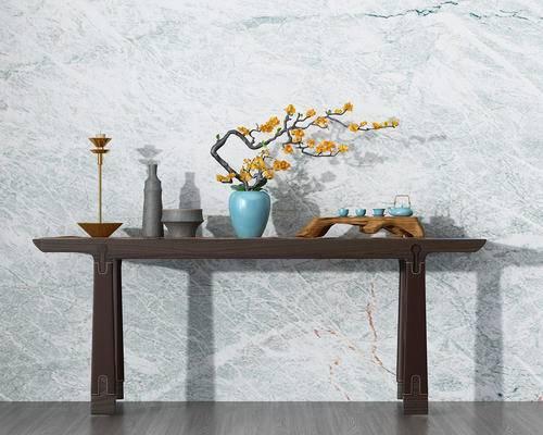 端景台, 陈设品, 摆件, 花瓶, 茶具