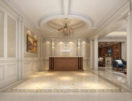 客廳, 沙發組合, 沙發茶幾組合, 吊燈組合, 掛畫組合, 前臺接待, 歐式