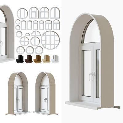 实木, 圆弧, 圆形, 窗户, 现代, 窗