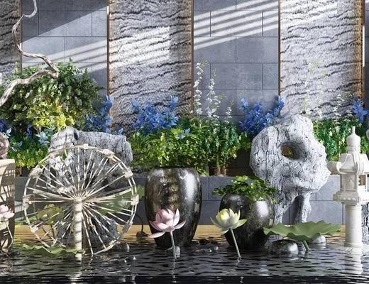 园林, 水景, 水车, 石头, 荷花, 绿植