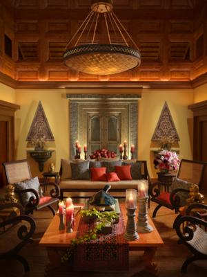 室内, 客厅, 多人沙发, 单人沙发, 边几, 茶几, 吊灯, 摆件, 装饰品, 陈设品, 日式
