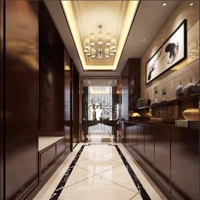 玄关, 走廊, 新中式, 边柜, 装饰柜, 挂画, 摆件, 吊灯, 花瓶, 雕塑