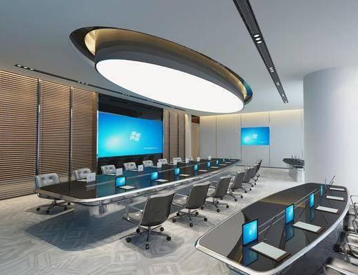会议室, 会议桌, 单人椅, 电脑, 现代