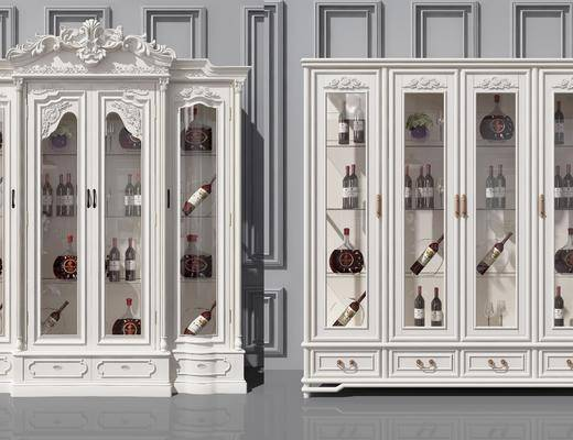 实木酒柜, 餐边酒柜, 装饰柜, 装饰品, 陈设品, 简欧