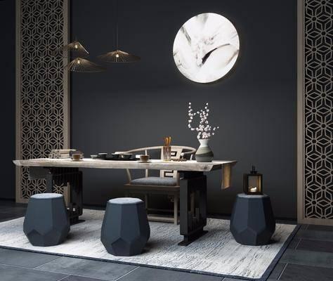 茶桌, 单人椅, 凳子, 花瓶花卉, ?#37096;?#30011;, 吊灯, 茶具, 装饰画, 挂画, 茶座, 中式