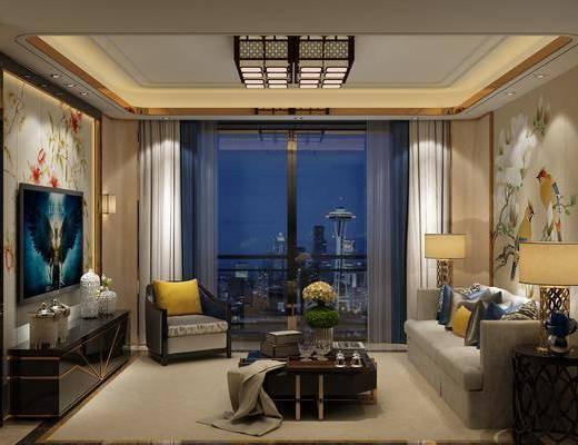 新中式, 客厅, 多人沙发, 单人沙发, 茶几, 边几, 吊灯, 电视柜