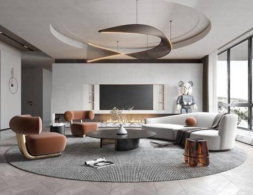 现代客厅, 摆件, 吊灯, 沙发, 茶几