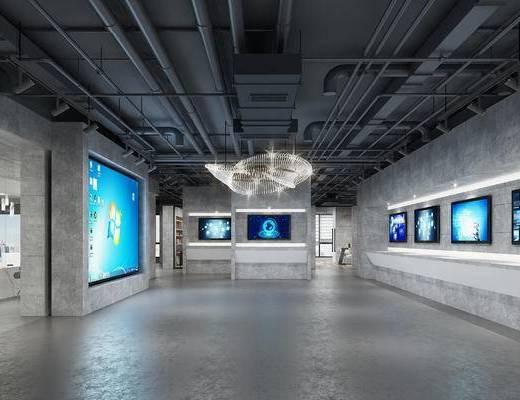 大厅, 科技馆, 吊灯, 工业风, 显示屏, 管道