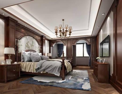 双人床, 吊灯, 电视柜, 电视, 床头柜, 台灯, 地毯