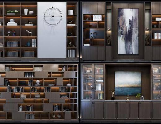 书柜组合, 装饰柜组合, 摆件组合, 现代