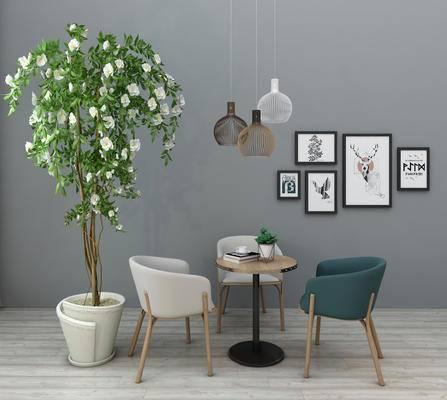 现代, 休闲, 桌椅, 组合