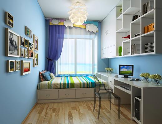 儿童房, 男孩房, 卧室, 现代, 椅子, 吊灯