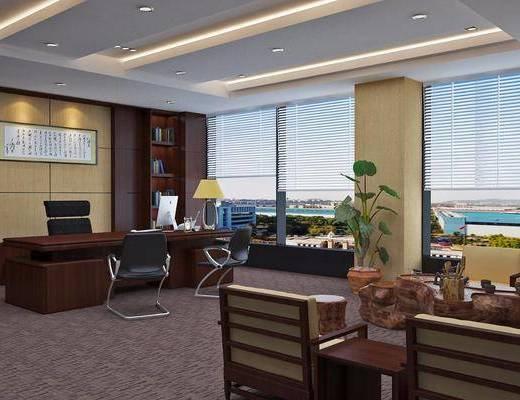 办公室, 办公桌, 办公椅, 单人椅, 茶桌, 茶具, 盆栽, 绿植植物, 台灯, 凳子, 中式