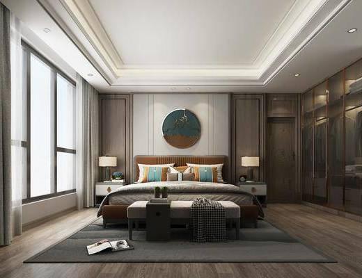 新中式卧室, 双人床, 床头柜, 台灯, 墙饰