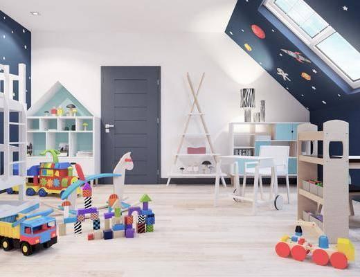 現代兒童房, 兒童房, 玩具