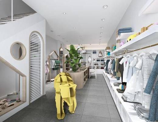 服装店, 桌子, 单人呢一, 衣架, 装饰架, 服饰, 吊灯, 装饰镜, 绿植植物, 门面门头, 现代
