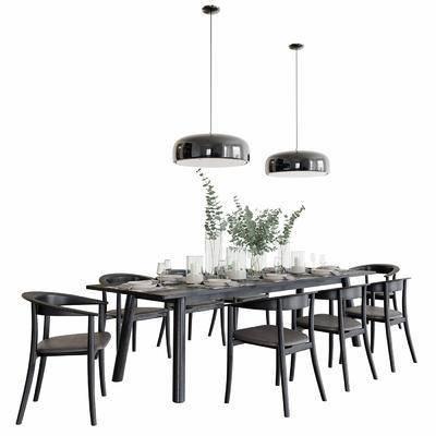 桌椅组合, 现代, 餐桌, 餐桌椅, 椅子, 单椅, 吊灯, 餐具, 花瓶