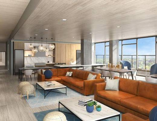 餐厅, 咖啡厅, 沙发组合, 餐桌椅, 椅子, 沙发
