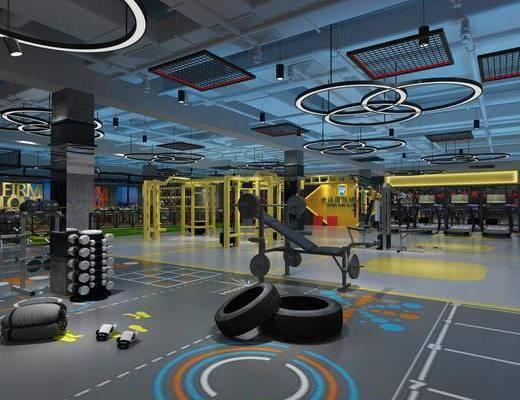 健身房, 健身器材, 吊灯, 现代