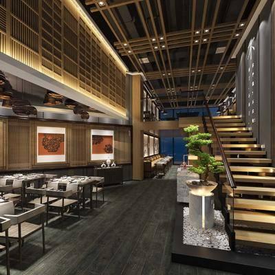 餐廳, 餐桌, 餐椅, 擺件, 裝飾畫, 單人椅, 吊燈, 綠植, 邊柜, 新中式