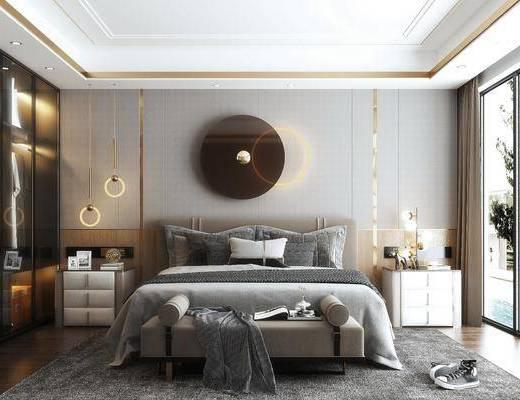 双人床, 墙饰, 床尾踏, 床头柜, 地毯, 衣柜