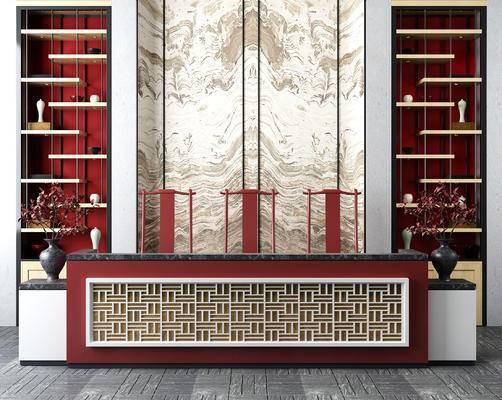 中式前台, 接待台, 背景墙, 置物架, 装饰摆件, 组合