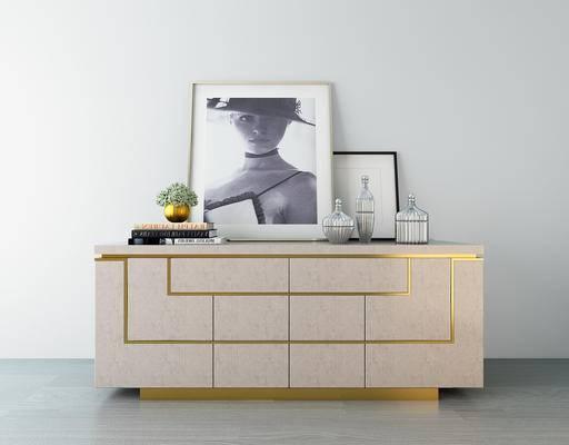 现代, 电视柜, 边柜, 装饰画, 摆件