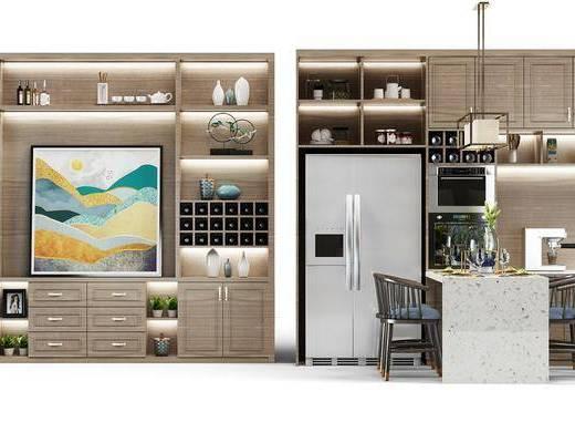 酒柜, 装饰柜, 装饰画, 冰箱, 餐桌, 餐椅, 单人椅, 餐具, 吊灯, 摆件, 装饰品, 陈设品, 现代