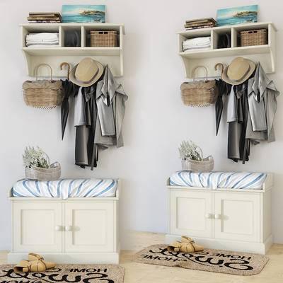 储物架, 储物柜, 鞋柜, 衣服, 帽子, 地毯, 鞋子, 花篮, 壁挂架, 现代储物柜鞋柜衣服帽子地毯鞋子花篮壁挂架组合