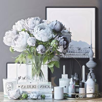 花瓶, 花卉, 摆件, 摆设, 陈设品, 牡丹花