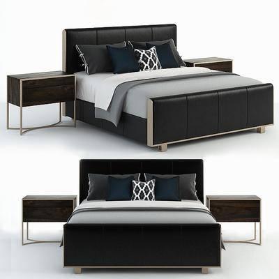 双人床, 边几, 被子, 枕头, 布艺, 现代
