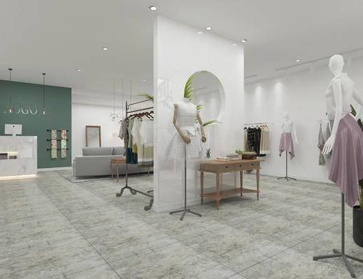 店铺, 吊灯, 沙发组合, 展示架, 模特