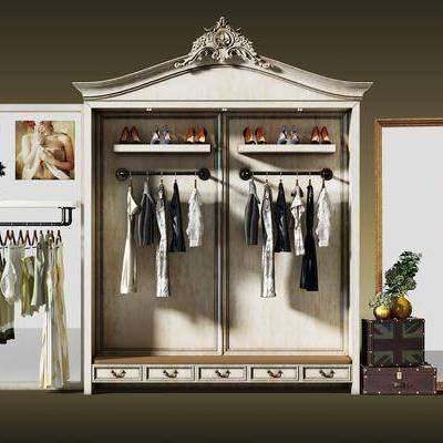 衣服, 衣柜, 展示柜, 服饰, 衣架, 挂画, 装饰画, 置物架, 盆栽, 植物, 花瓶, 花卉, 后现代