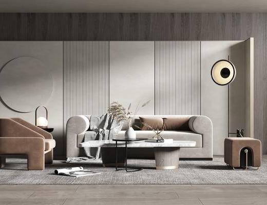 沙发组合, 墙饰, 落地灯, 单椅, 茶几, 摆件组合