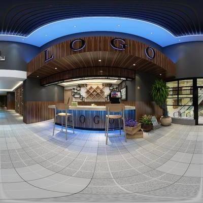 奶茶店, 门头, 吧台, 吧椅, 摆件, 墙饰, 工业风