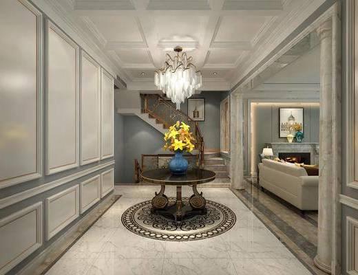 玄关走廊, 茶几, 吊灯, 装饰画, 挂画, 楼梯, 美式