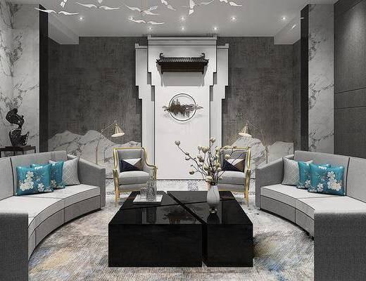 新中式大理石会客室, 灰色弧形沙发, 茶几, 单人椅, 新中式背景墙, 大理石